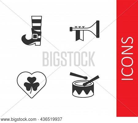 Set Drum With Drum Sticks, Leprechaun Boot, Heart Clover Trefoil Leaf And Trumpet Icon. Vector