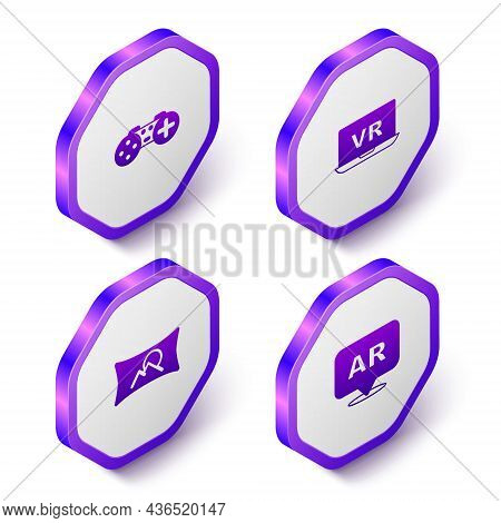 Set Isometric Gamepad, Virtual Reality, Wide Angle Picture And Augmented Ar Icon. Purple Hexagon But
