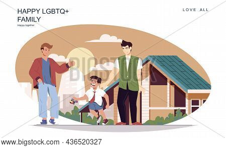 Happy Lgbt Family Concept. Male Fathers With Son Walking At Street And Pastime Together At Home. Hom