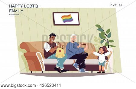 Happy Lgbt Family Concept. Male Fathers Take Care Of Little Daughter At Home. Multiracial Homosexual