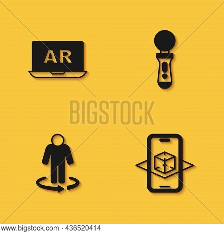 Set Augmented Reality Ar, 3d Modeling, And Vr Controller Game Icon With Long Shadow. Vector