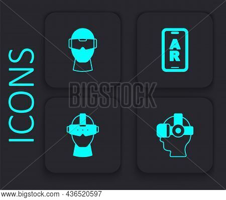 Set Virtual Reality Glasses, Augmented Ar And Icon. Black Square Button. Vector