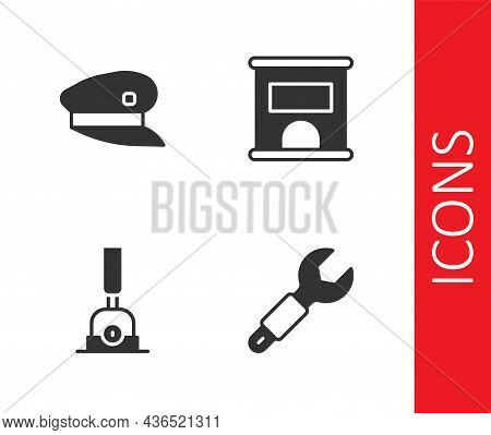 Set Wrench Spanner, Train Driver Hat, Arrow For Switching The Railway And Ticket Office To Buy Ticke