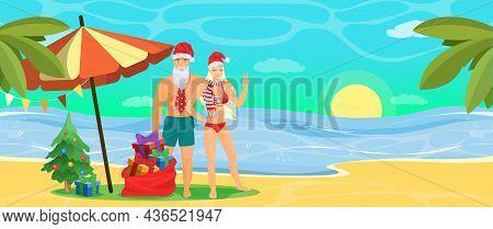 Happy Couple In Swimwear And Santa Hats On Beach, Vector Illustration. Tropic Christmas Tour, Tropic