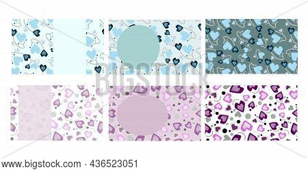 Business Card Vector Set Shapes Template. Heart Shape Designs In Blue And Pinks. Front And Back Card