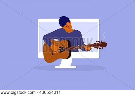 Man Playing Guitar From Digital Screen. Online Video Course Of Play Musical Instrument. E-learning M
