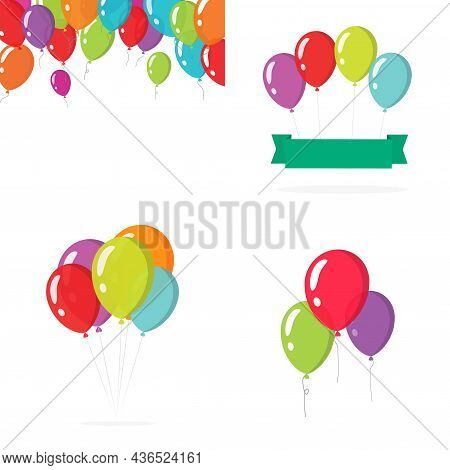 Balloons Birthday Party Colorful Vector Set Or Baloons Bunch Group Flying In The Air Isolated On Whi