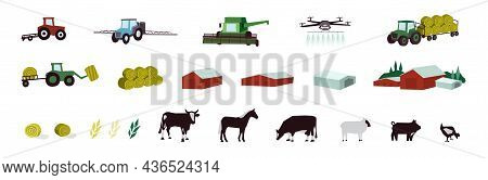 Agriculture And Livestock Icons Set. Agricultural Machinery, Building, Farm Animals, Cattle, Irrigat
