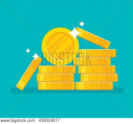 Gold Coins Stack Vector And Illustration Eps 10