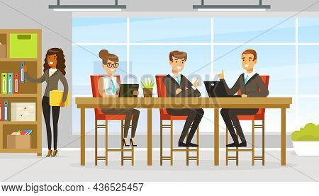 People Coworker In Office Space Working Together At Table Vector Illustration