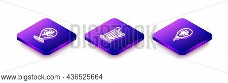 Set Isometric Line Clover Trefoil Leaf, Harp And Balloon With Clover Icon. Vector