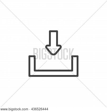 Download, Save Line Icon. Linear Style Sign For Mobile Concept And Web Design. Arrow Download Outlin