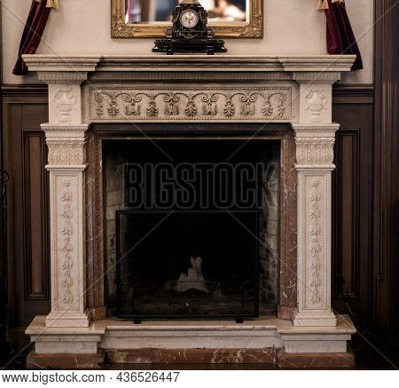 Fireplace With Beautiful Details. Fireplace In Vintage Style