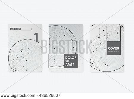 Magazine Science. Vector Brochure Sphere Concept. Network, Modern Mesh Tech Circles Line. Connection