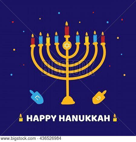 Happy Hanukkah Cartoon Style Colorful Greeting Card, Vector Illustration With Menorah With Nine Ligh