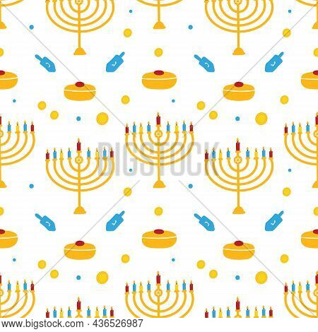 Cute Colorful Hanukkah Vector Seamless Pattern Background With Dreidels, Coins, Sufganiyot And Menor