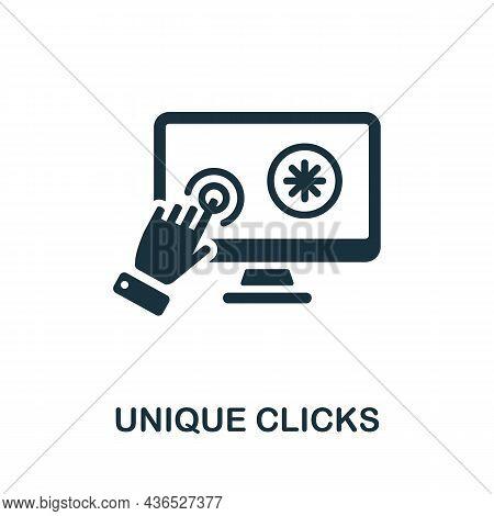 Unique Clicks Icon. Monochrome Sign From Affiliate Marketing Collection. Creative Unique Clicks Icon