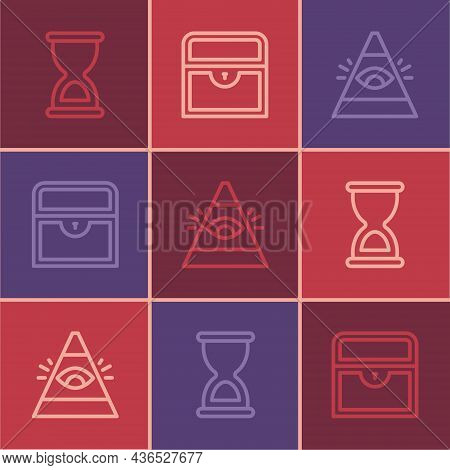 Set Line Old Hourglass, All-seeing Eye Of God And Antique Treasure Chest Icon. Vector