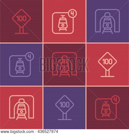 Set Line Speed Limit Traffic Sign 100 Km, Train In Railway Tunnel And Online Ticket Booking Icon. Ve