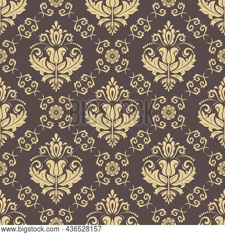Classic Seamless Pattern. Damask Orient Ornament. Classic Vintage Background. Orient Brown And Golde