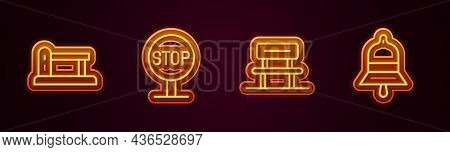 Set Line Railway Barrier, Stop Sign, Waiting Hall And Train Station Bell. Glowing Neon Icon. Vector