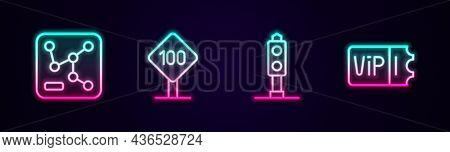 Set Line Railway Map, Speed Limit Traffic Sign 100 Km, Train Light And Ticket. Glowing Neon Icon. Ve