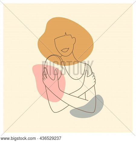Femininity Aesthetic Abstract Poster. Woman Embracing Shoulders. Female Silhouette In Trendy Linear