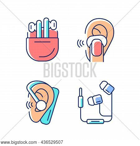 Compact In Ear Earphones Rgb Color Icons Set. Small Earpieces For Listening Music And For Calls. Wir