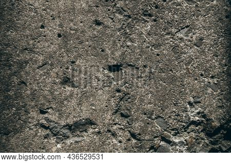Close-up Of The Old Concrete Pavement. Dirty Concrete Floor. The Texture Of Old Concrete.