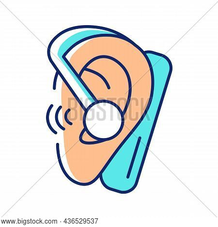 Handsfree Headset Rgb Color Icon. Wireless Earpiece For Business Conversations. Connected To Smartph
