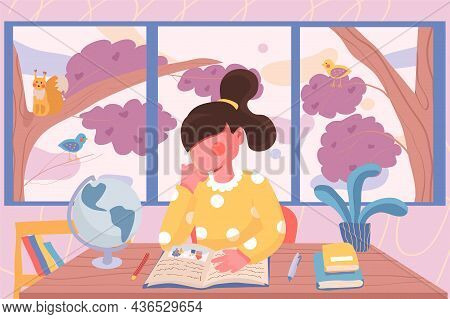 Education Banner. Girl Doing Homework While Sitting At Table In Room On Background Of Garden Window.