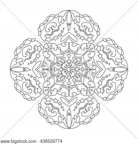 Christmas Mandala. Candles, Hearts And Stars. Coloring Page. Vector Illustration.