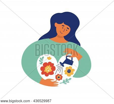 Self Love, Body Care Concept. Gentle To Yourself Vector Illustration. Happy Female Grows Garden With