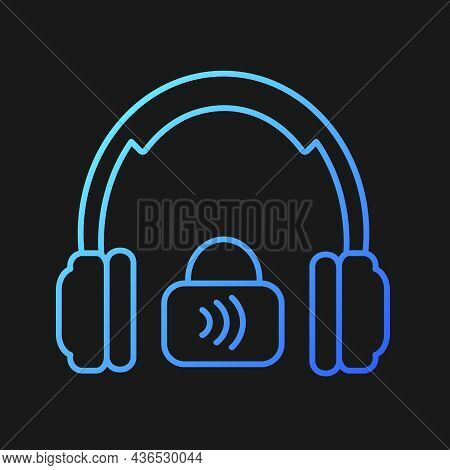 Closed Back Headphones Gradient Vector Icon For Dark Theme. Over Ear Headset For Music Making And Ga