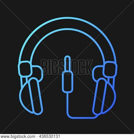 Wired Circumaural Headset Gradient Vector Icon For Dark Theme. Professional Device Connected To Comp
