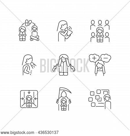 Phobias And Its Symptoms Linear Icons Set. Vomiting And Nausea. Hyperventilation And Consternation.