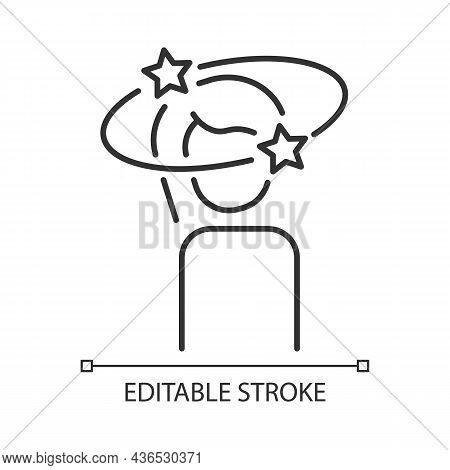 Vertigo Linear Icon. Panic Attack And Mental Disorders Symptom. Health Problem And Its Treatment. Th