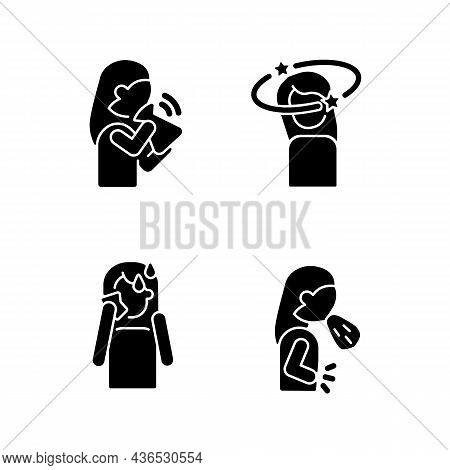 Panic Disorder Symptoms Black Glyph Icons Set On White Space. Nausea And Dizziness. Anxiety And Stre