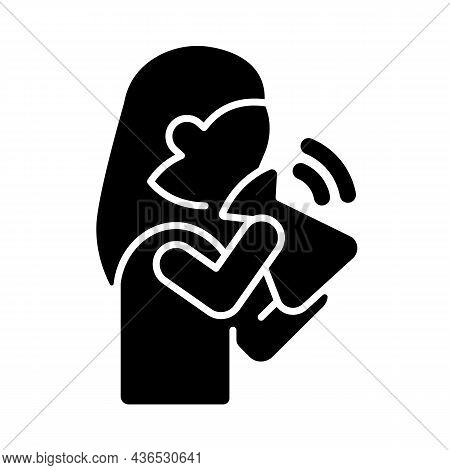 Hyperventilation Black Glyph Icon. Panic Attack Symptom. Respiratory Problem. Dyspnea Due To Stress