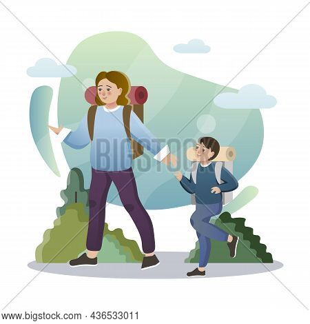 Family Hike. Isolated Flat Style Colored Illustration. School Lessons. Hike In The Forest Dad And So
