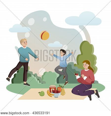 Family Outdoor Activities. Isolated Flat Style Colored Illustration. School Lessons. Family Holiday.