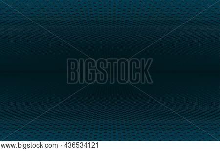 Abstract Dark Blue Halftone Circle Perspective Design Artwork Template. Center Design For Overlap Ar