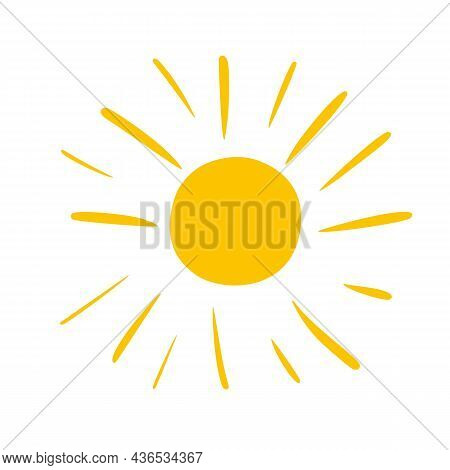 Sun With In Doodle Cartoon Style. Childish Simple Art For T Shirts, Clothes Design. Easy To Recolour