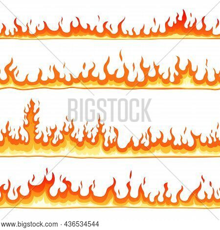 Fire Seamless Pattern. Cartoon Blaze, Hot Flames Borders Lines. Hell Elements, Isolated Bonfire Or B