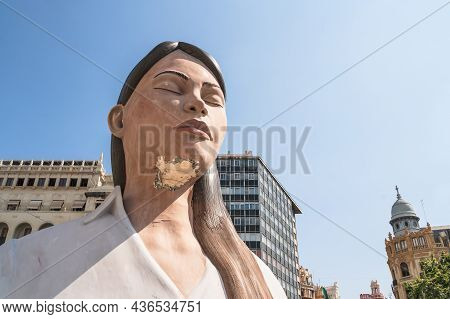Valencia, Spain - 4 September 2021: Large Paper Mache Statue Of A Meditating Women On The Town Squar