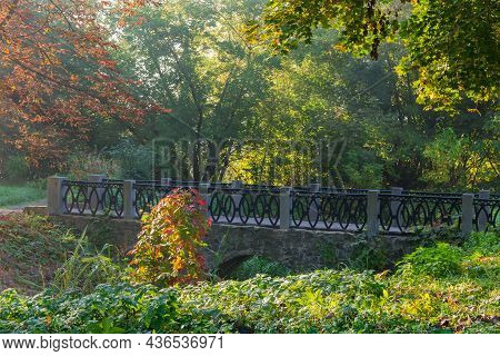 Decorative Arched Stone Footbridge With Cast Iron Railing In The Autumn Park At Sunny Morning
