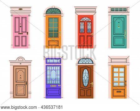 Front Doors. Various Entrance Gates, Architectural Classic Exterior Elements, House Facade Vintage O