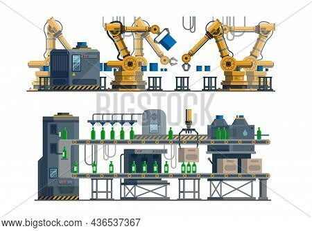 Industrial Assembly Line. Automated Conveyor. Electronic Technical Equipment In Factory, Robotic Han