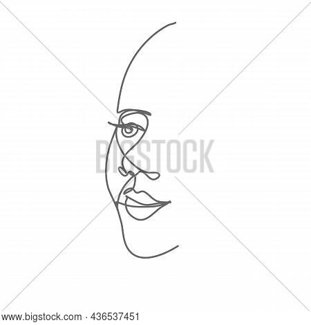 Woman Face In Continuous Line Drawing. Sketchy Minimalistic Female Portrait. Outline Simple Artwork