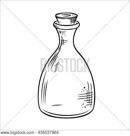 Isolated Vector Bottle. Line Art Empty Transparent Glass Vial, Bottle, Jar.